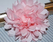 Light Soft Pink  Fabric flower   - 4''  large silk Pink fabric flower - flat back  Dahlia Silk Flower baby Pink