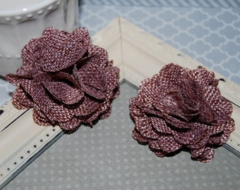 Flax Fabric Flowers - Light Plum linen Burlap fabric flowers (2 pcs) - use for headbands - hair hat shoe clips  rustic vintage decorations