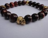 Men's Bracelet - Red Tigers Eye Bracelet For Men with Brass Skull Accents- Skull Jewelry