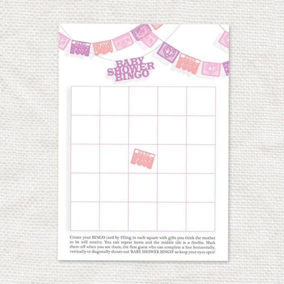 baby shower games printable instant download fiesta pink bingo