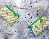 New York city map coin purse wallet with green zipper - I love NY street art Map Wallet - urban cement grey green