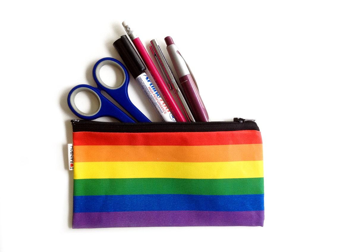 SALE RAINBOW colors pencil case zipper pouch with black