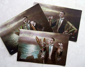 3 Postcards French Man Hand tinted postcard