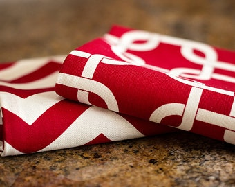 Kitchen Hand Towels (set of 2) - Gotcha Red & Chevron Red