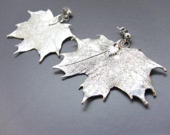 Sterling Silver Maple Leaf Post Earrings