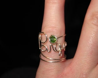Wire Wrapped YOUR NAME and BIRTHSTONE Made to Order Ring
