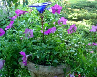 CONTAINER GARDENING, Butterfly Feeder, stained glass,  Cobalt BLUE, copper, garden stake, Garden Art