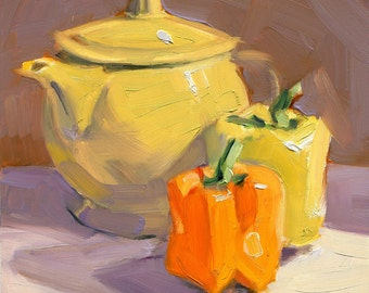 Yellow Teapot with Yellow and Orange Peppers - Kitchen Art - Painting of Peppers