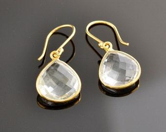 Crystal Quartz Earrings - Birthstone Jewelry - April Birthstone - Drop Earrings  - Bridesmaid Gift - Wedding Jewelry - Gold Earrings