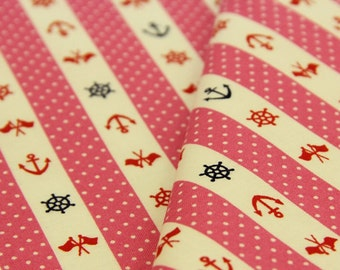 Marine motif, pink, fat quarter, pure cotton fabric