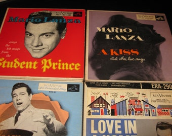 Mario Lanza 4 different vintage 45 rpm in original sleeves .....two are double albums