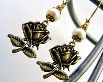 Boho Rose earrings white pearl earrings bohemian jewelry bohochic dangle earrings victorian baroque bronze vintage statement earrings eco