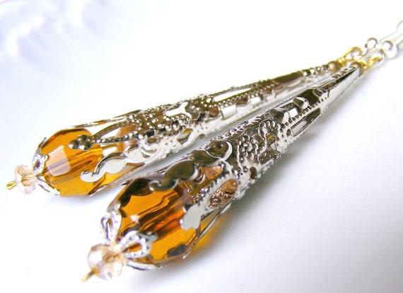 Valentines day sale,dangle earrings, drop earrings, beadwork earrings, Baroque Romantic silver cone vintage Scepter cognac
