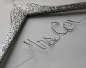 Silver Glitter Bride Hanger, Wedding Hanger, Sparkle Bridesmaid Gift, Mrs, Personalized Silver Hanger, Shiney Wedding Dress Hanger
