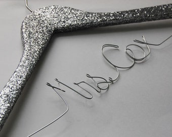 Silver Glitter Bride Hanger, Wedding Hanger, Sparkle Bridesmaid Gift, Mrs Personalized Hanger, Shiney Wedding Dress Hanger