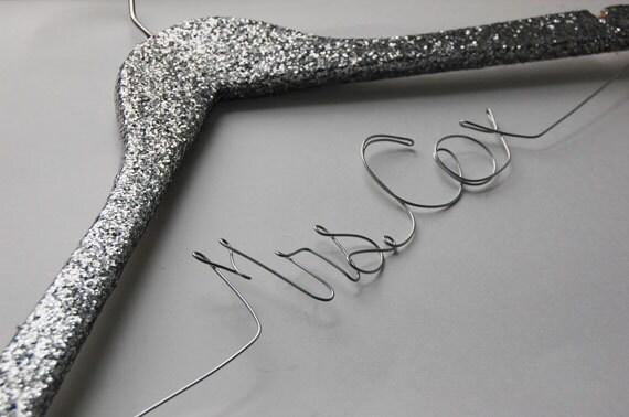 Silver Glitter Bride Hanger, Wedding Hanger, Sparkle Bridesmaid Gift, Mrs, Personalized Silver Hanger, Shiney Wedding Dress Hanger