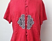 SALE - Red Asian short sleeved linen embroidered blouse with black and cream accents