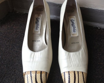 80s Snakeskin and Cream Leather Striped shoes - size 9US