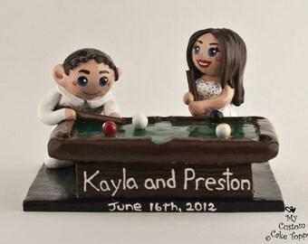 Pool Bride and Groom Wedding Cake Topper