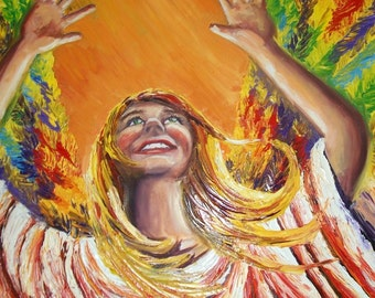 angel happy oil painting, orange, colorful