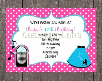 50's Party Invites and Party-Tags-50's Party Collection-Casbury Lane