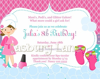 Printable Invitation-NEW Spa Party Girls Collection-Little Birdie Notes