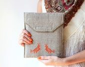 Hands embroidered iPad case - iPad sleeve - Rustic - Two orange birds - OOAK