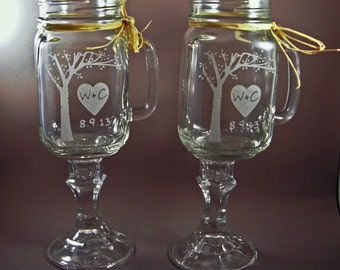 Redneck Mason Jar Wine Glasses with Personalized Rustic Blooming Tree