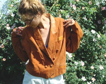 Vintage 80's Brown Suede  Jacket with Cock Embroidery
