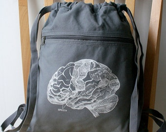 Brain Backpack Canvas Laptop Bag School Bag Screenprinted
