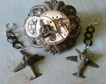 Fly High Steampunk Bracelet and Earring Set w Vintage Elgin Pocket Watch Movement Propellers Airplanes