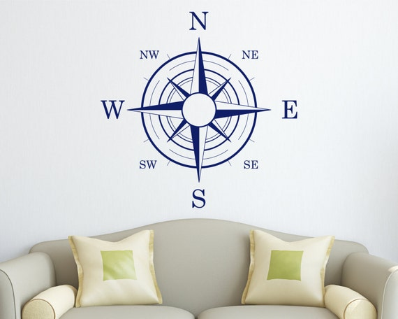 items similar to nautical compass wall decal on etsy. Black Bedroom Furniture Sets. Home Design Ideas