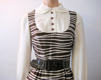 Zebra Stripe Lord and Taylor Bib Front Dress with Peter Pan Collar in Brown and Cream