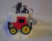Diaper cake mini, red contruction loader/tractor, decoration, baby shower or new baby gift.
