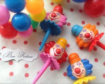 Bozo Circus Clown Cake Novelty Cupcake Picks