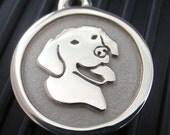 Medium Stainless Steel Smiling Lab Pet ID Tag