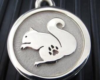 Medium Stainless Steel Squirrel Engraved Pet ID Tag
