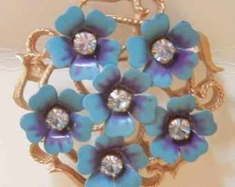 Vintage Avon Love Blossoms Brooch/ Pendant Enamel and Rhinestone 1970s