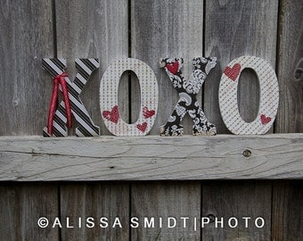 Decorated Wooden Letters for Valentine's Day - XOXO