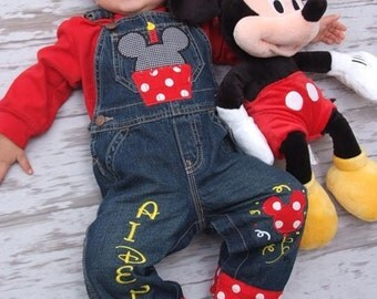 Personalized Boys Disney Birthday Overalls  6 months to 5T