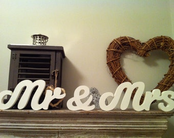 15cm Handpainted Freestanding Wedding Letters - Mr & Mrs - Susa Script
