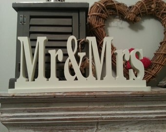 10cm Handpainted Freestanding Wedding Letters - Mr & Mrs - With Stand - Georgia