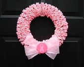 Find a Cure Pink Breast Cancer Awareness  Beaded  Wreath