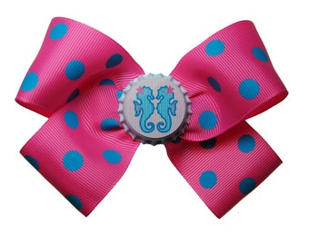 Large Pink and Blue Seahorse Hair Bow