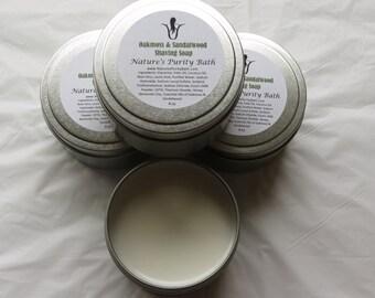 Oakmoss and Sandalwood Mens Goat's Milk and Aloe Shaving Tin Soap