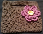 RESERVED - Crochet Mini Purse, Brown with pink and yellow flower, 100% Cotton