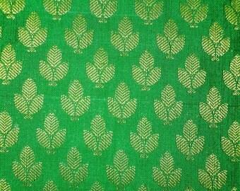 One yard of lush  green silk brocade fabric