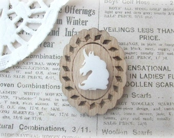 Wooden Frame with White Unicorn Brooch