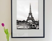 Black and White Fine Art Modern Photography - Europe - Eiffel Tower on the Seine No.2 - 40cmx50cm Size (Can also be other, custom sized)
