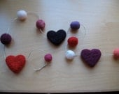 Heart felted garland